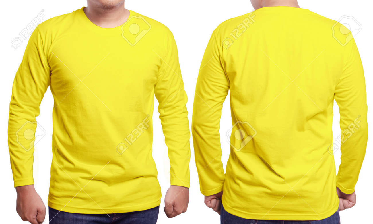 Yellow Long Sleeved T Shirt Mock Up Front And Back View Isolated