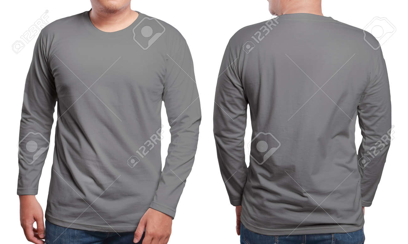 Gray Long Sleeved T-shirt Mock Up, Front And Back View, Isolated ...
