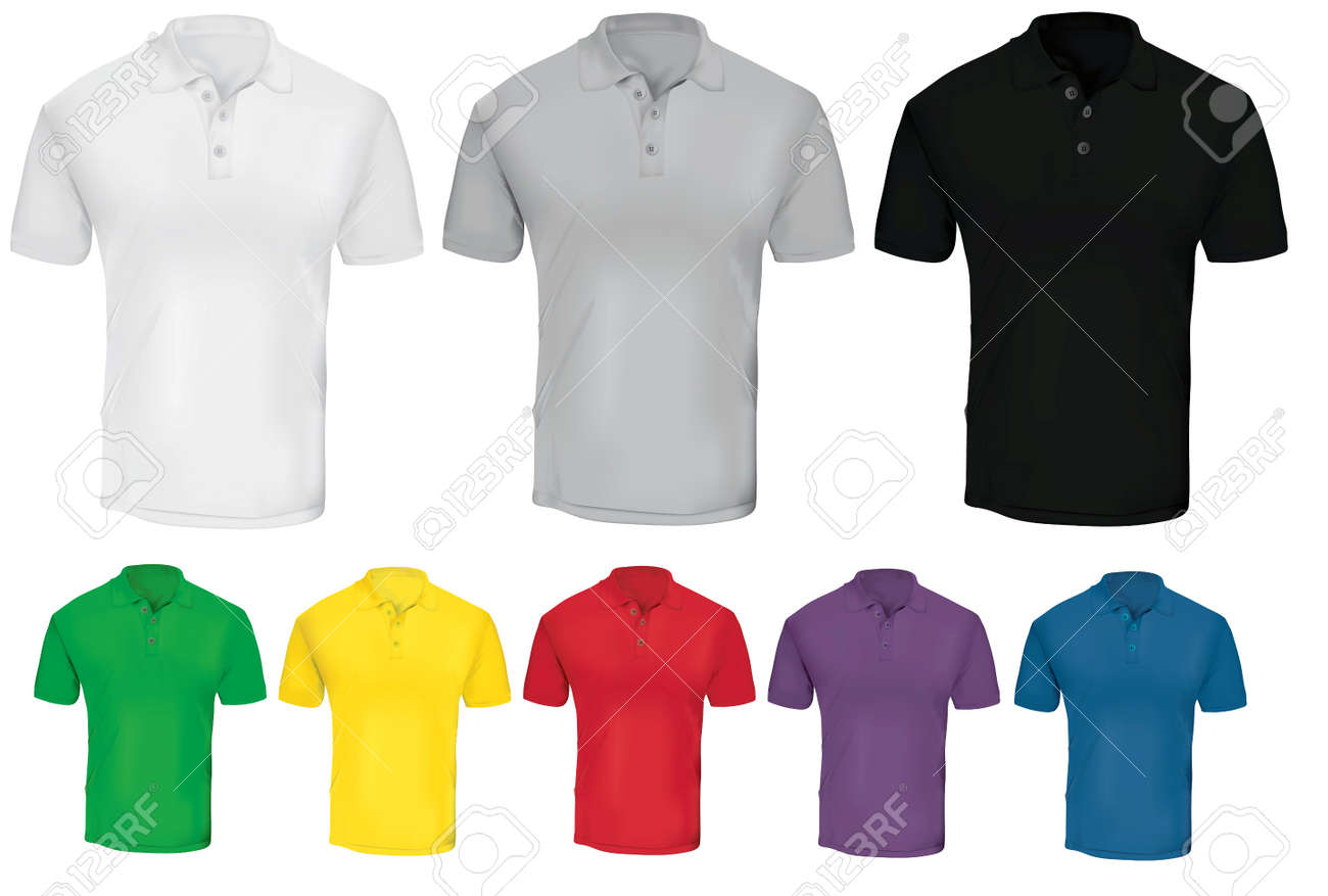 Vector Illustration Of Blank Polo T-shirt Template In Many Color ...