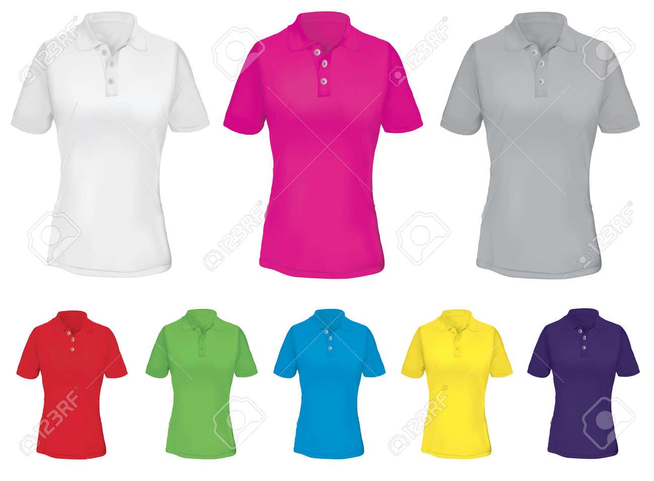 Polo Shirt Vorlage Für Frau In Vielen Farben. Lizenzfrei Nutzbare ...