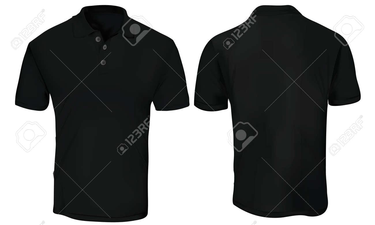 Black short sleeve polo shirt design templates vector image.