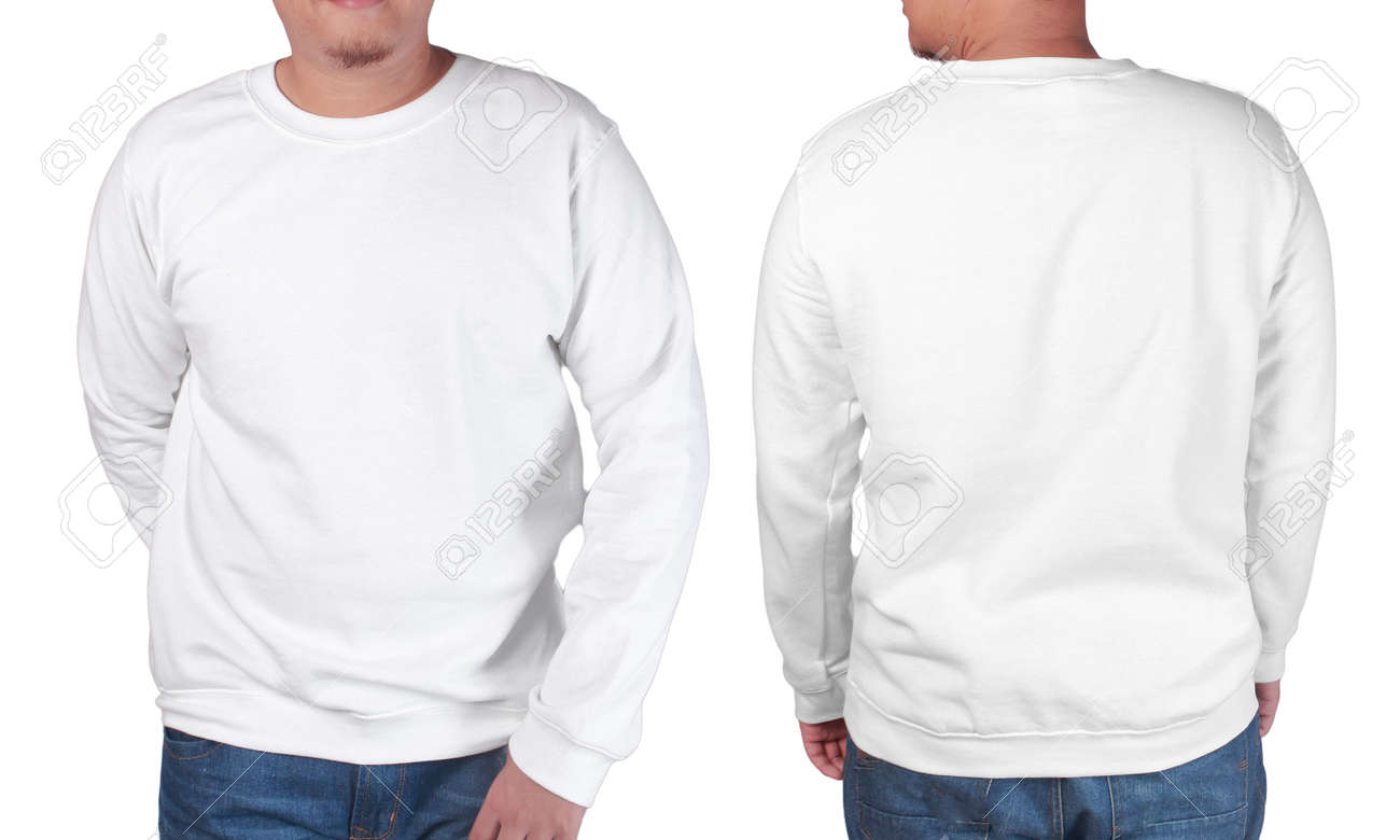 Blank Sweatshirt Mock Up Front And Back View Isolated On White