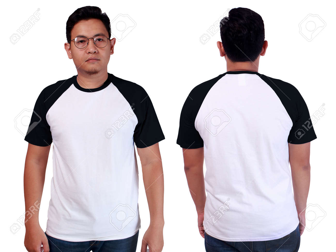 Blank Tshirt Mock Up Front And Back View Isolated On White