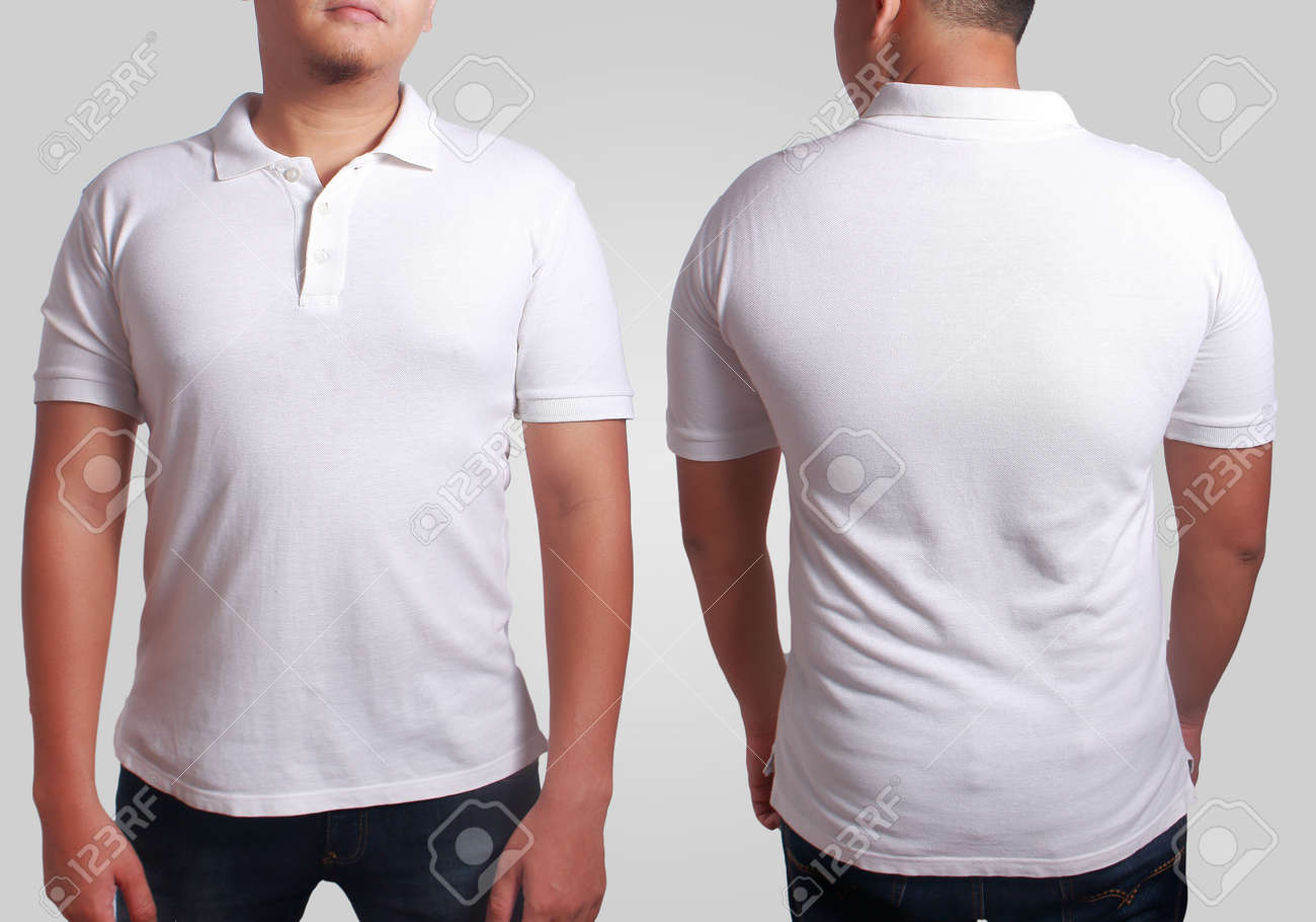 536f764c Blank Polo Shirt Mock Up, Front, And Back View, Isolated On Grey ...