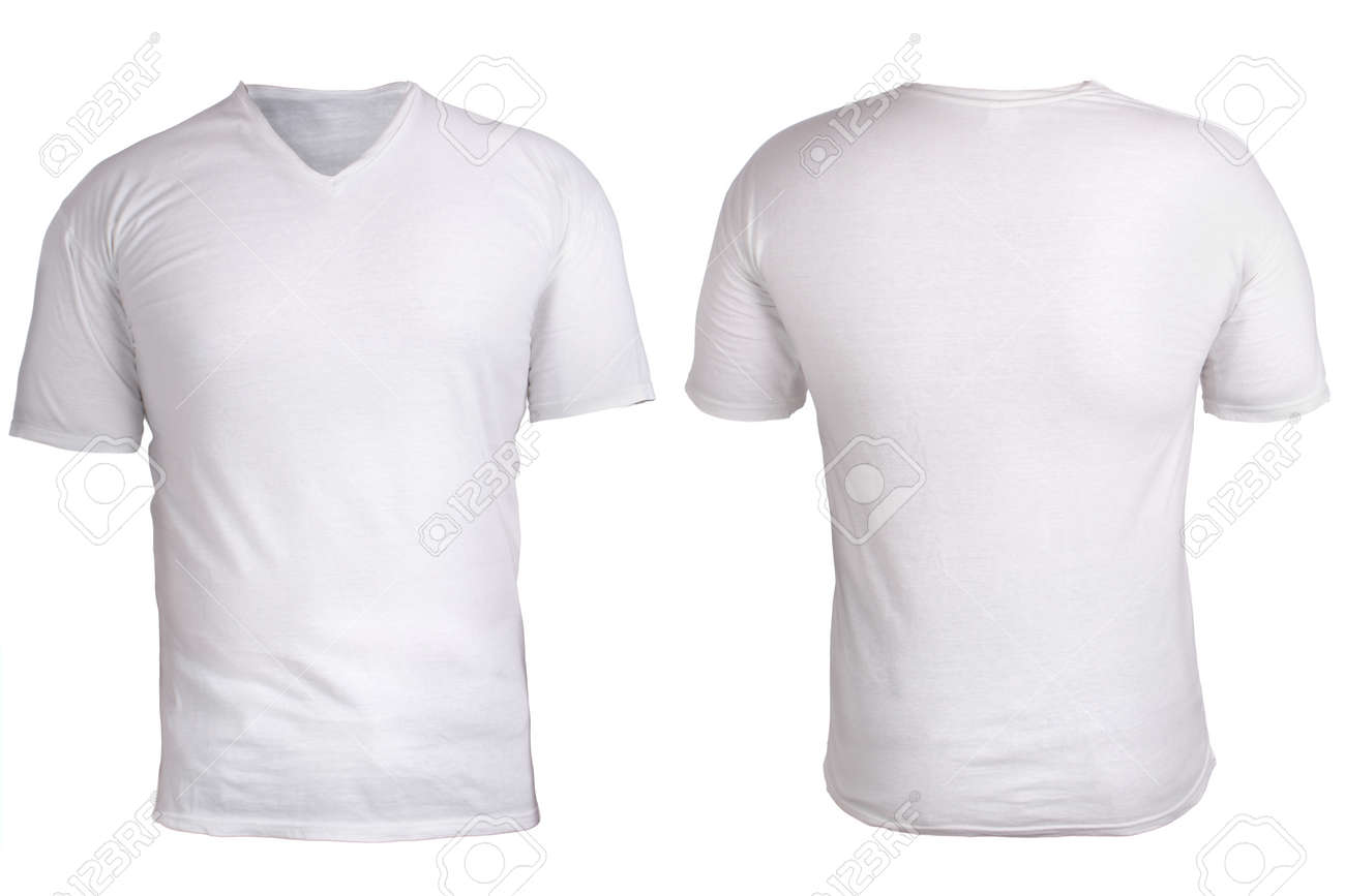 Blank V Neck Shirt Mock Up Template Front And Back View