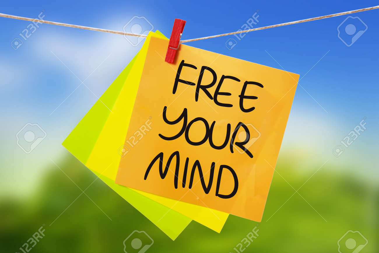 Free Your Mind. Motivational inspirational quotes words. Colorful..