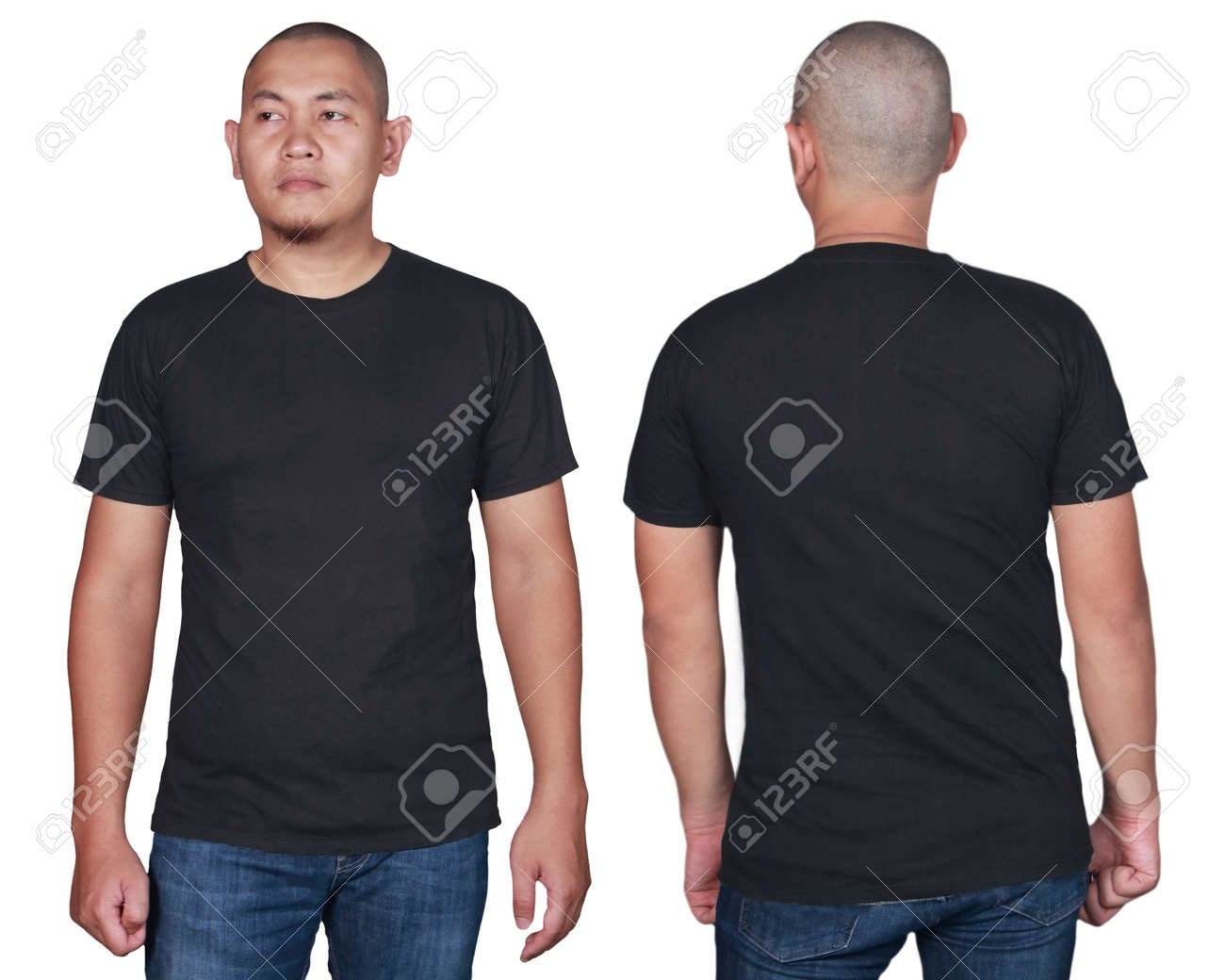 Black T Shirt Mock Up Front And Back View Isolated Male Model