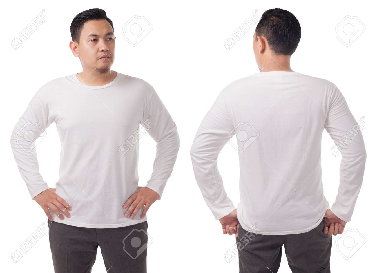 White Long Sleeved T Shirt Mock Up Front And Back View Isolated