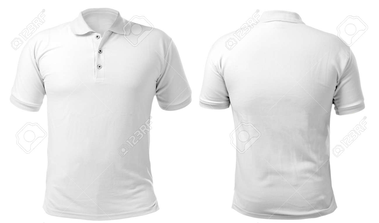add97c43d Blank collared shirt mock up template, front and back view, isolated on  white,