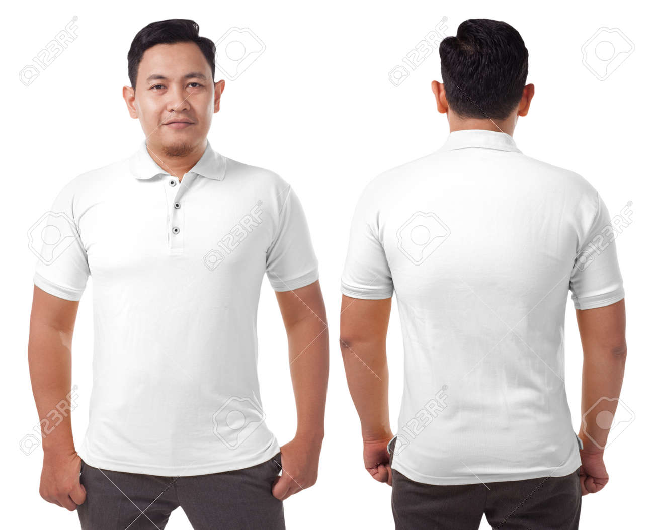 5caac737 Blank collared shirt mock up template, front and back view, Asian male  model wearing