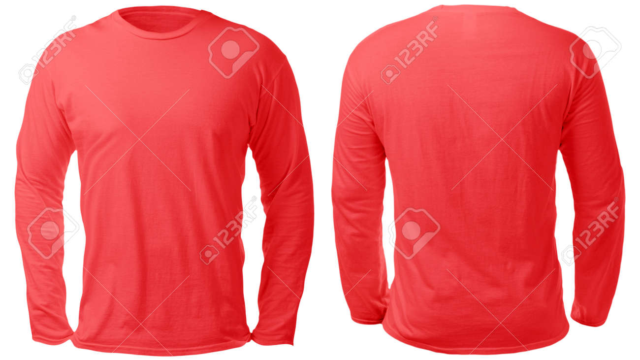 Blank Long Sleeved Shirt Mock Up Template Front And Back View