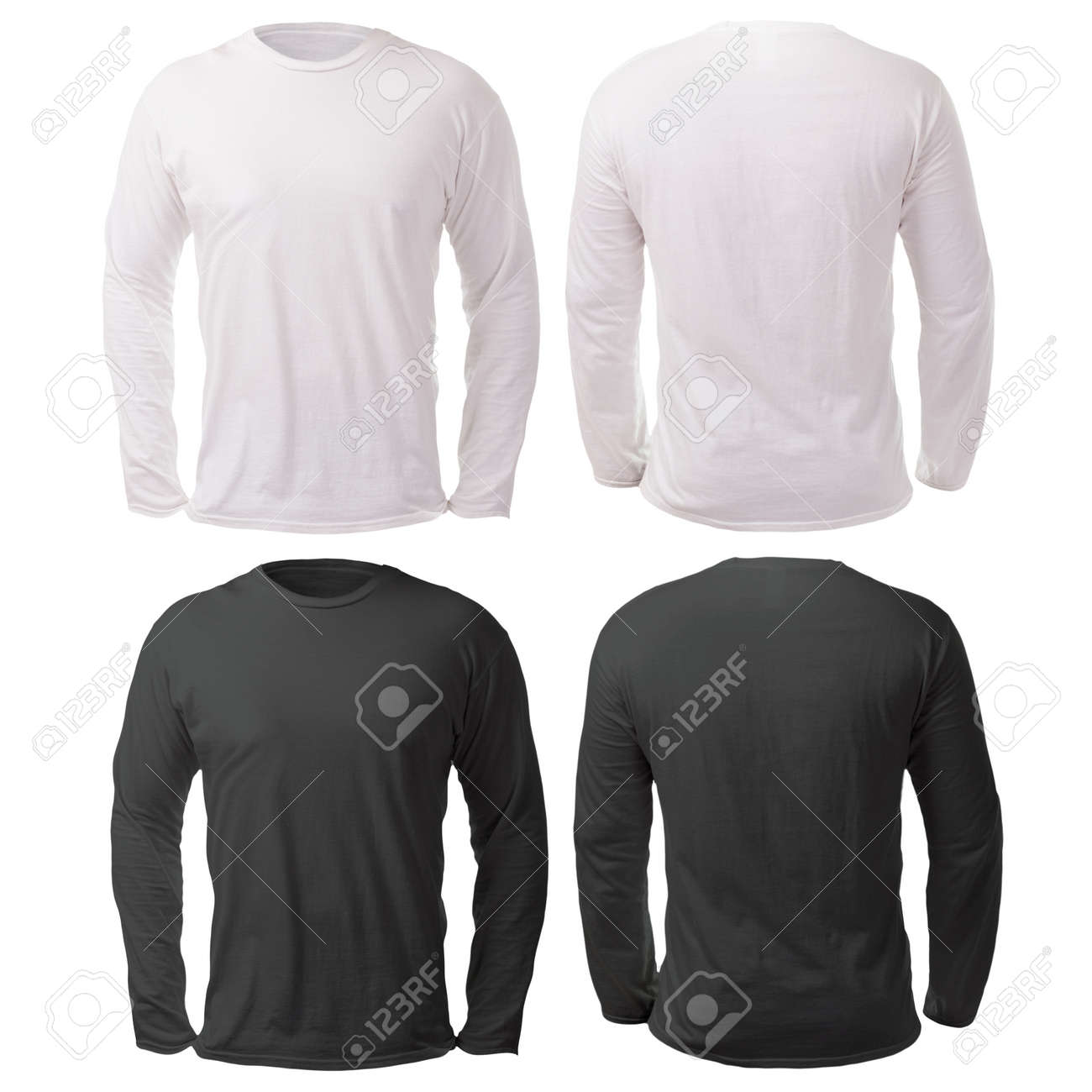 Blank long sleeved shirt mock up template, front and back view,
