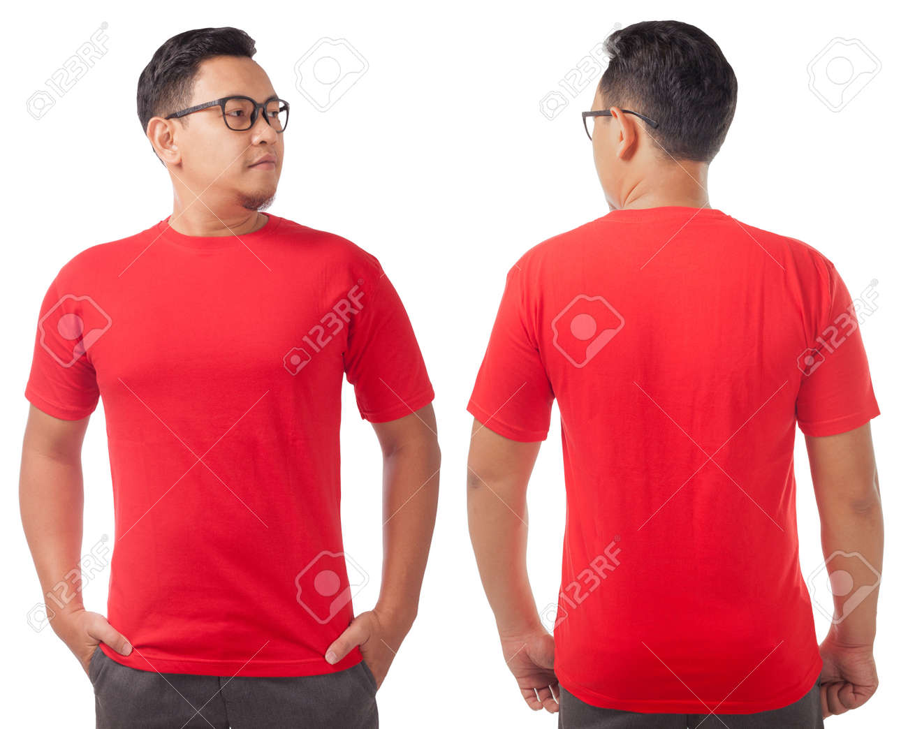 Red T Shirt Mock Up Front And Back View Isolated On White