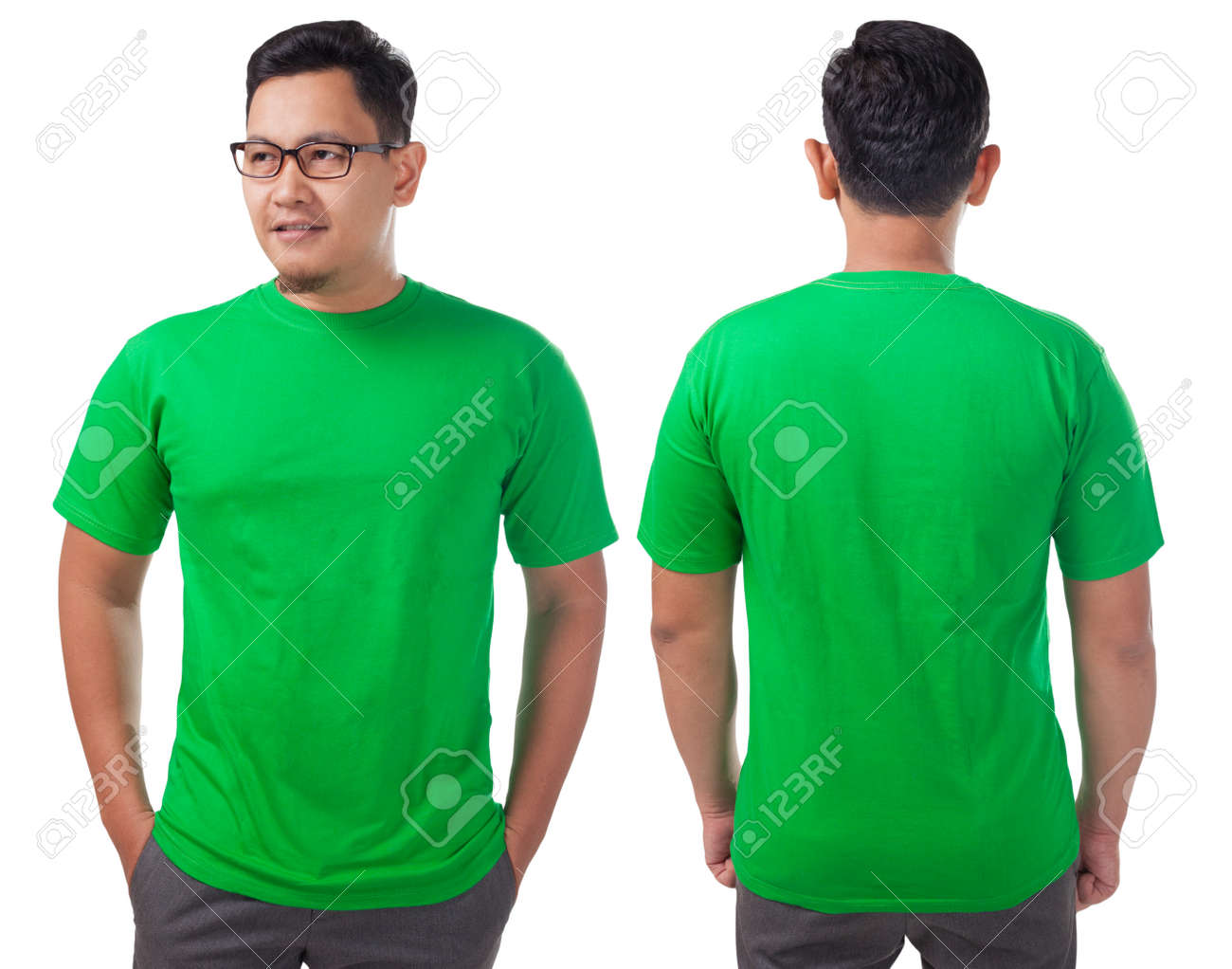 Green T Shirt Mock Up Front And Back View Isolated Male Model
