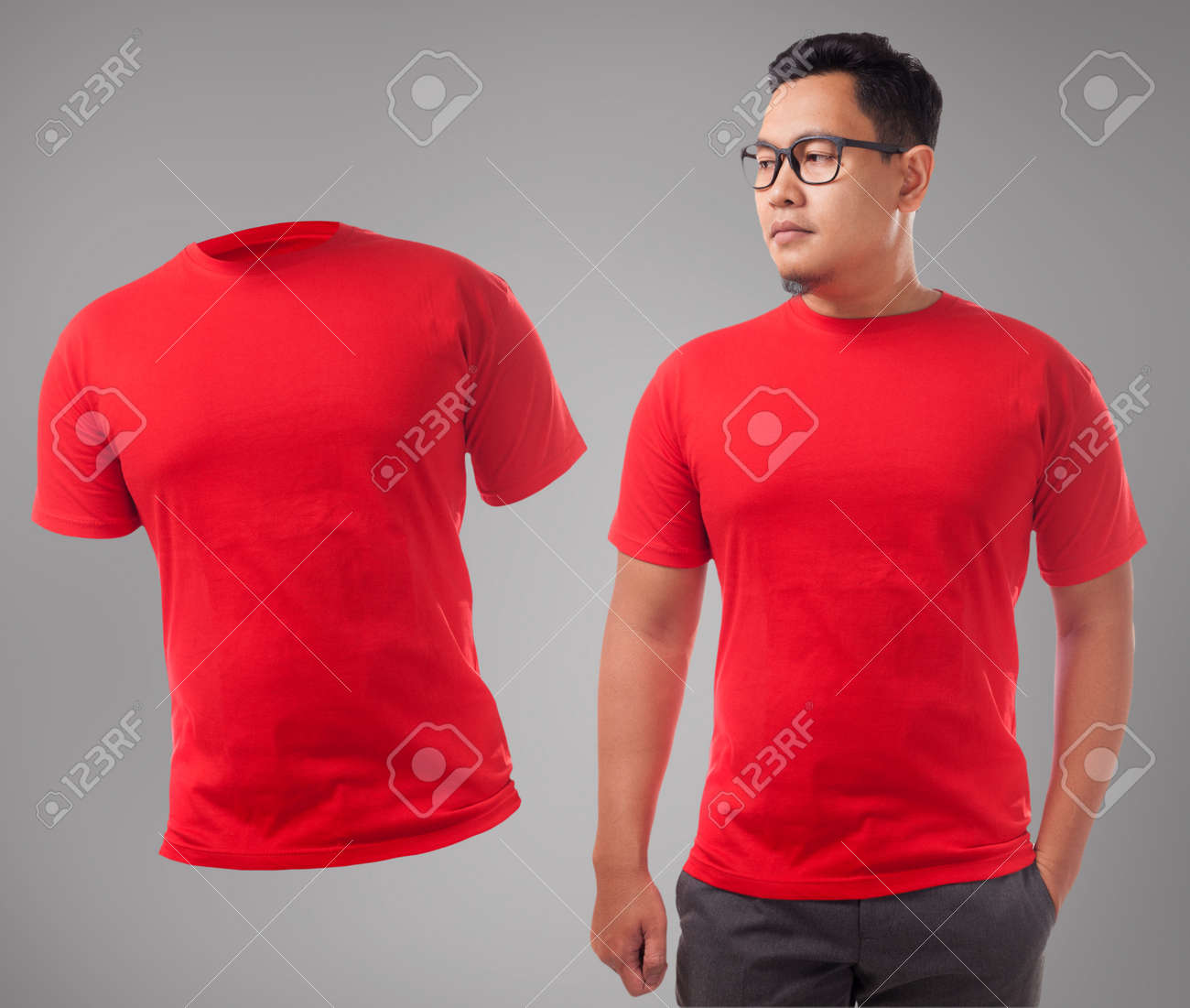 Red T Shirt Mock Up Front View Isolated Male Model Wear Plain