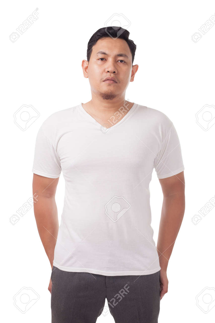 White T Shirt Mock Up Front View Isolated Male Model Wear