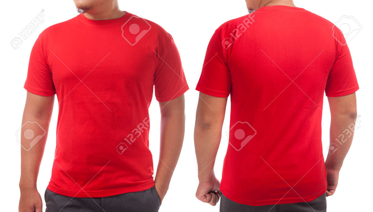 Red T Shirt Mock Up Front And Back View Isolated Male Model