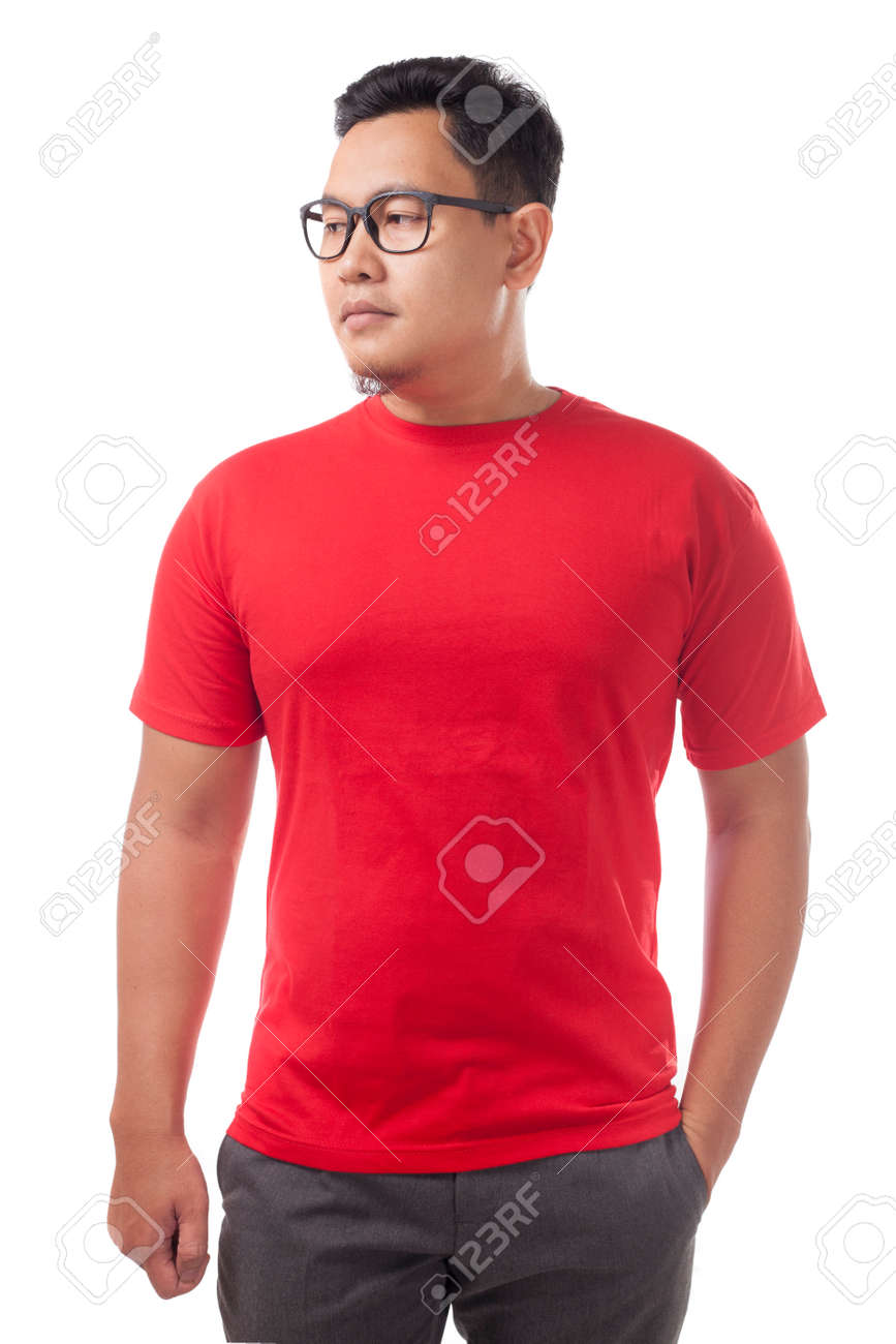 Red t-shirt mock up, front view, isolated. Male model wear plain red shirt mockup. Tshirt design template. Blank tee for print - 123594755