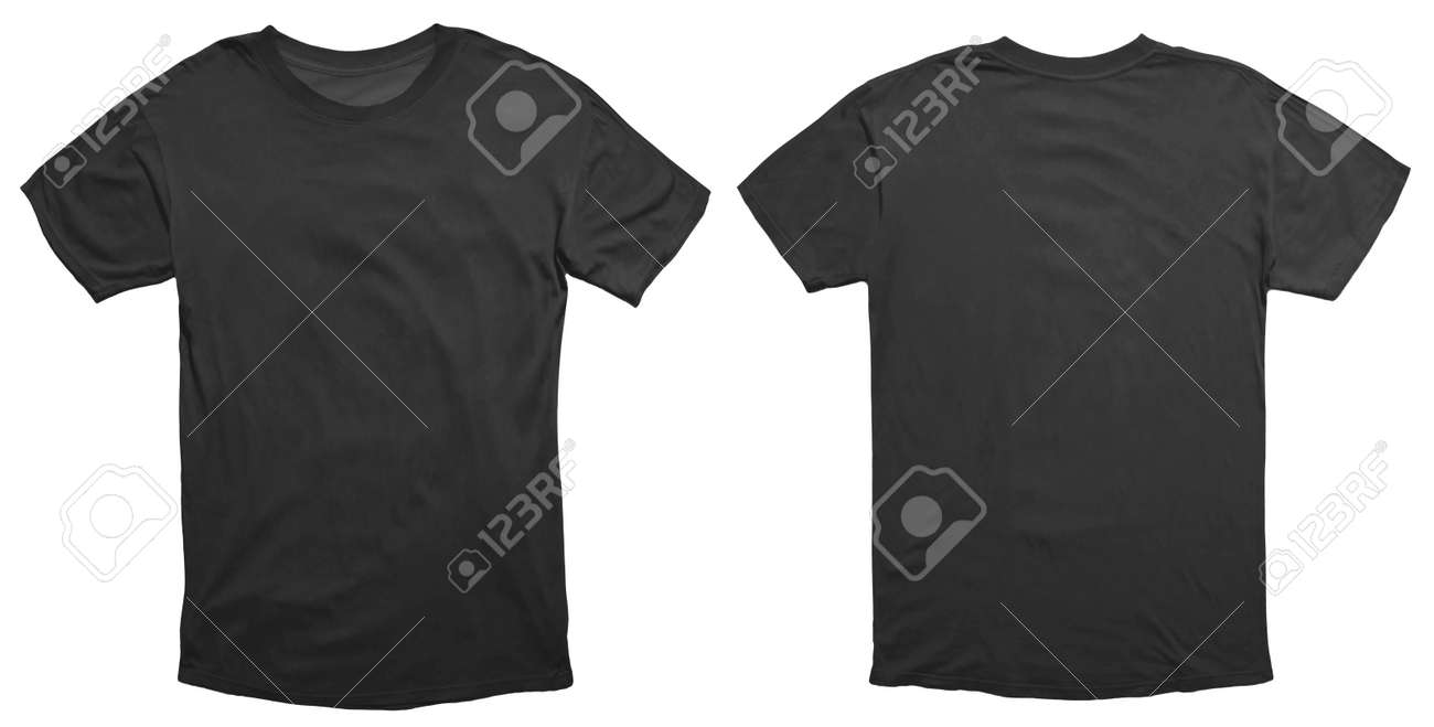 Blank black shirt mock up template, front and back view, isolated on white, plain t-shirt mockup. Tee sweater sweatshirt design presentation for print. - 129897966