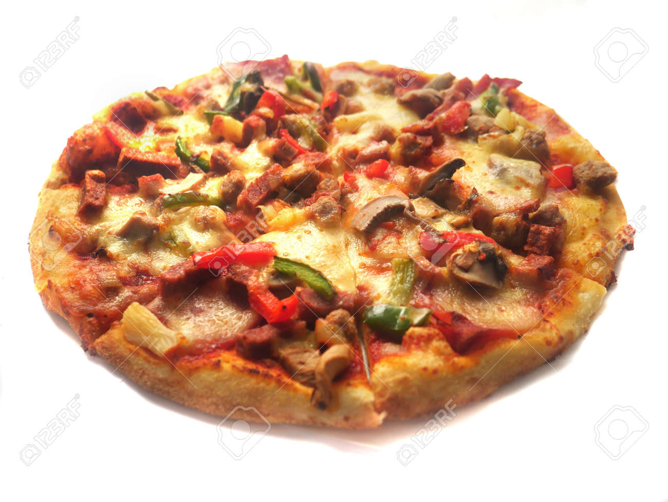 Close up image of Italian food pizza in round shape, topped with meat, ham, mushroom, veggies and cheese, isolated on white - 135681594