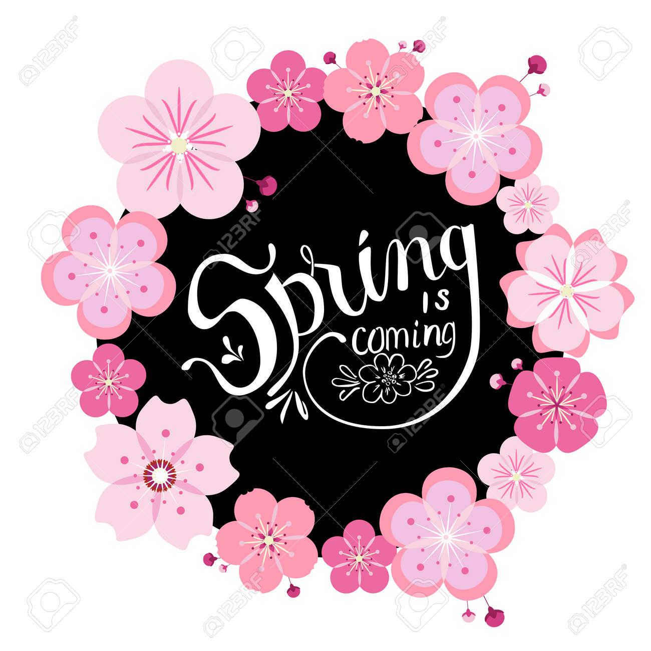 桜が咲き黒丸白手描き春のレタリングと綺麗なリースのイラスト