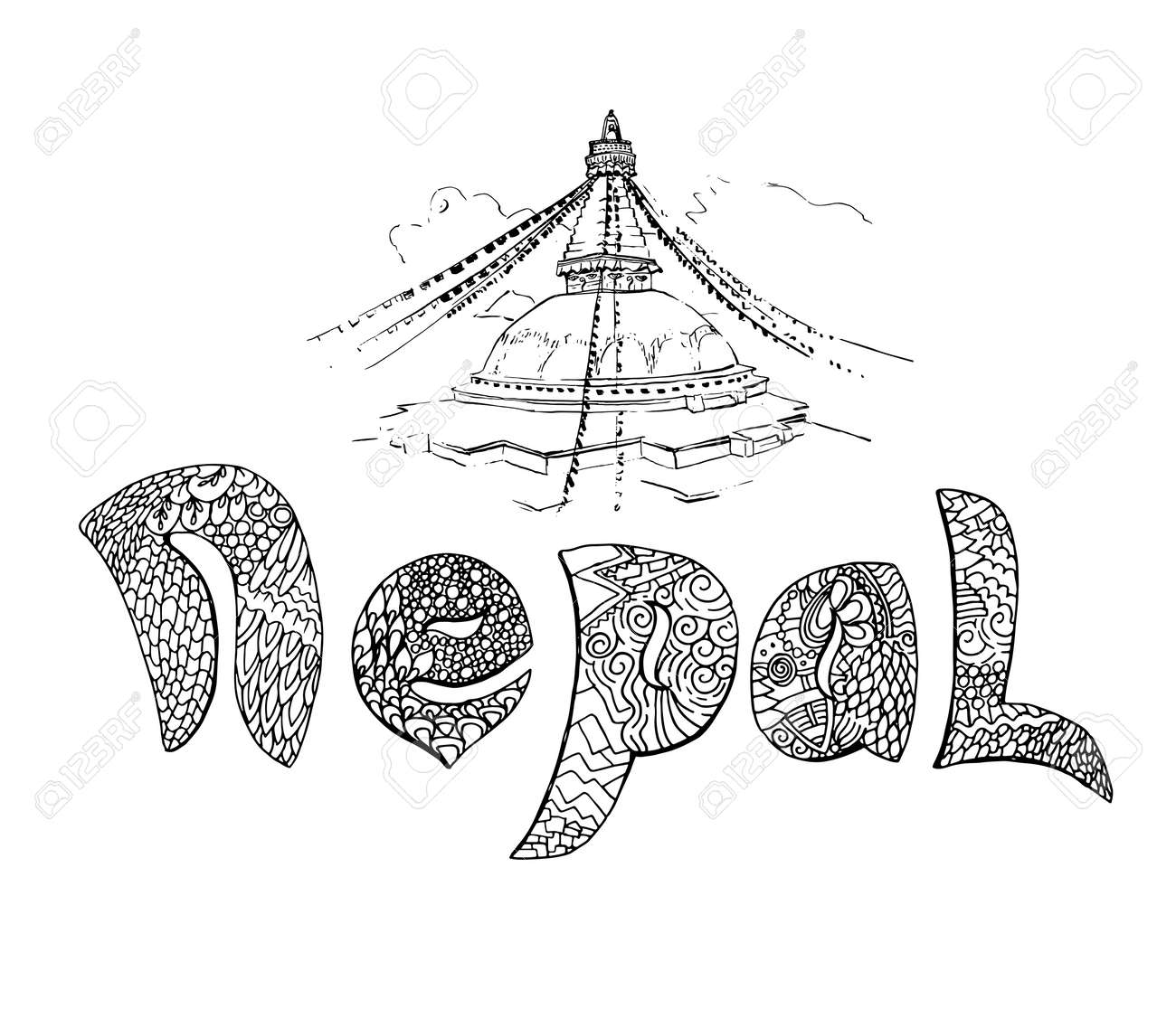 decorative hand lettering of word nepal filled with doodle patterns