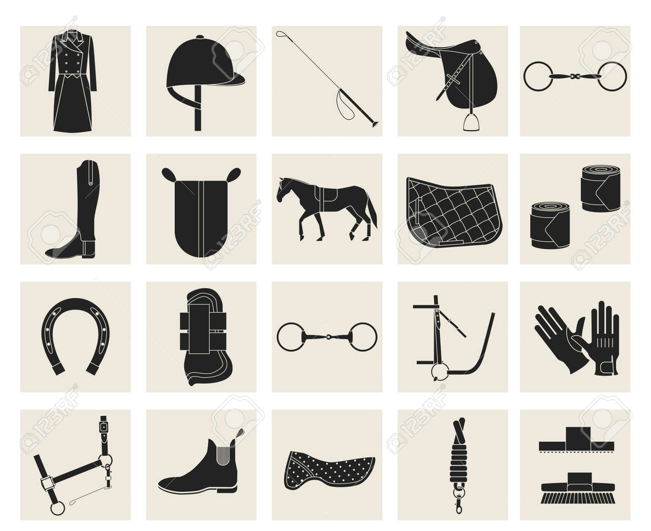 Collection Of Horseback Riding Gear And Riding Attire Royalty Free Cliparts Vectors And Stock Illustration Image 57921714