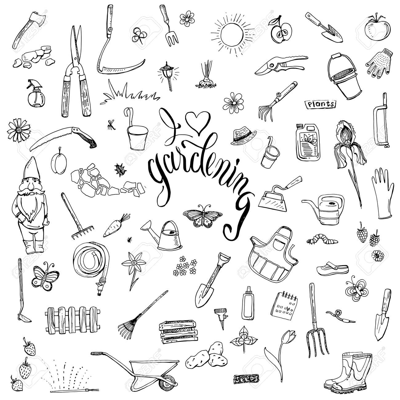 Hand Drawn Doodles Of Gardening Gear. Lettering I Love Gardening. Tools,  Plants,