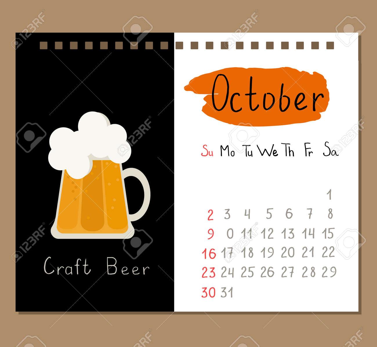 Plantilla De Página De Calendario Para El Mes De Octubre Con La ...