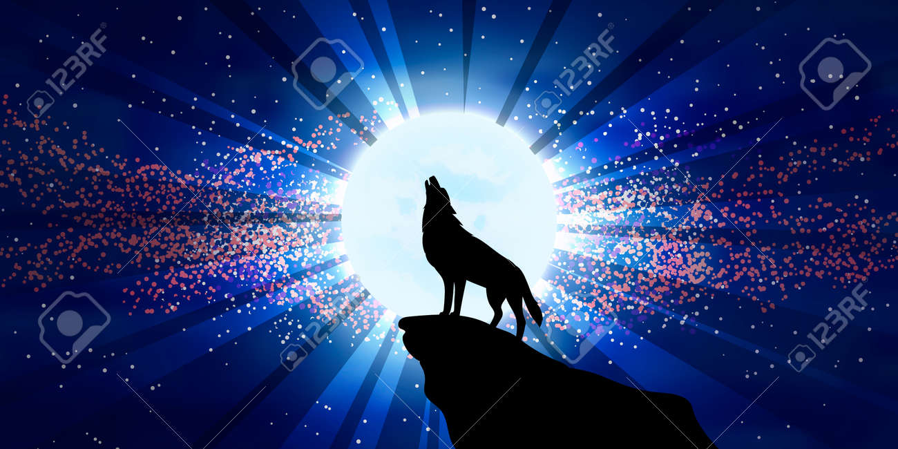the vector illustration wolf howling at the moon horizontal