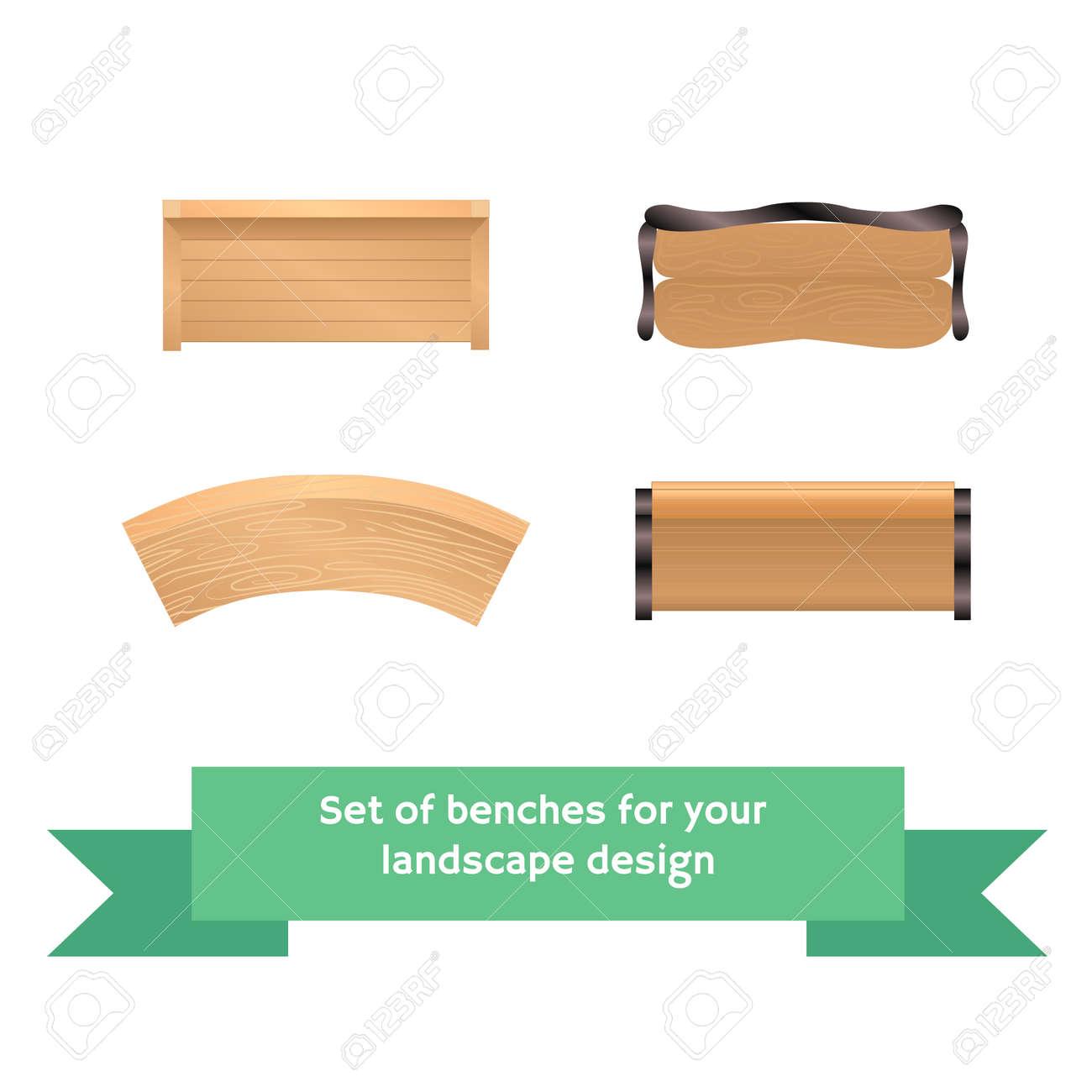 ensemble de vecteur bancs en bois. collection pour l'aménagement