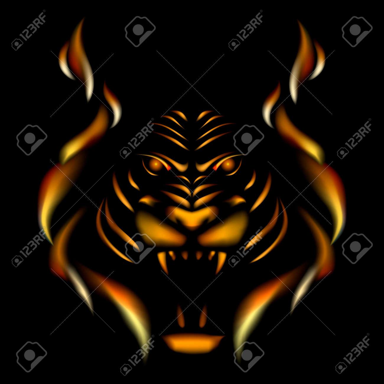 Tiger made of flame, vector illustation on black gackground. - 42160339