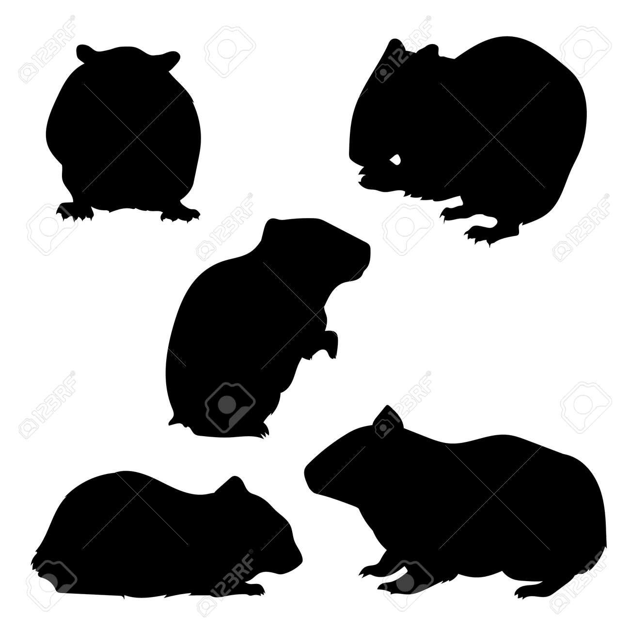 ハムスター セット シルエット、ベクター。動物アイコンのコレクション