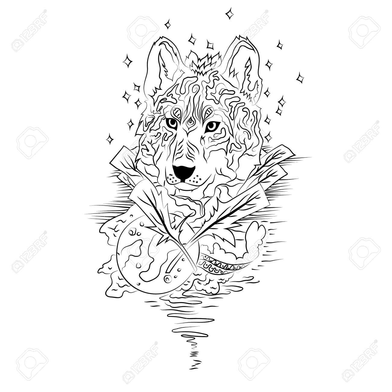 Loup Noir Et Blanc Isole Esquisse Gravure Resume Loup Vecteur Avec La Lune Imprimer Pour T Shirt Les Choses Sauvages Clip Art Libres De Droits Vecteurs Et Illustration Image 43730561