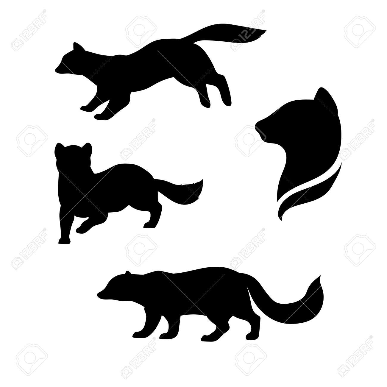 クロテンの動物アイコンやシルエット。さまざまなポーズのイラストの