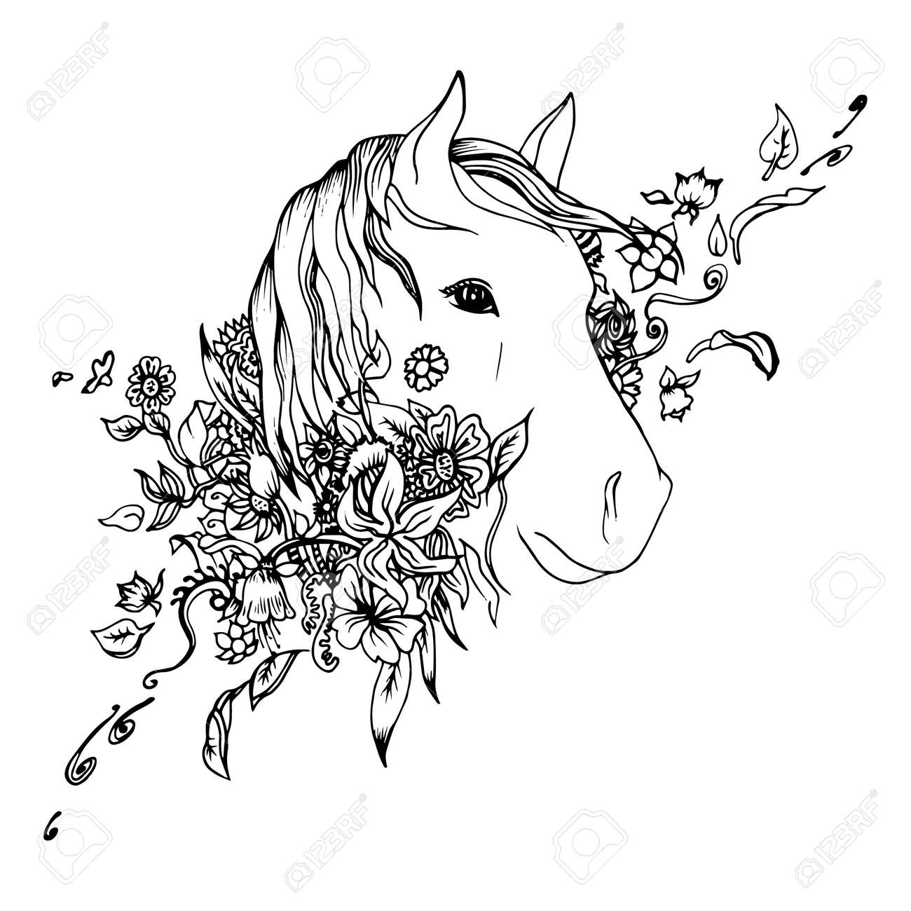 Black And White Horse Head Isolated Engraving Sketch Abstract Royalty Free Cliparts Vectors And Stock Illustration Image 43731573