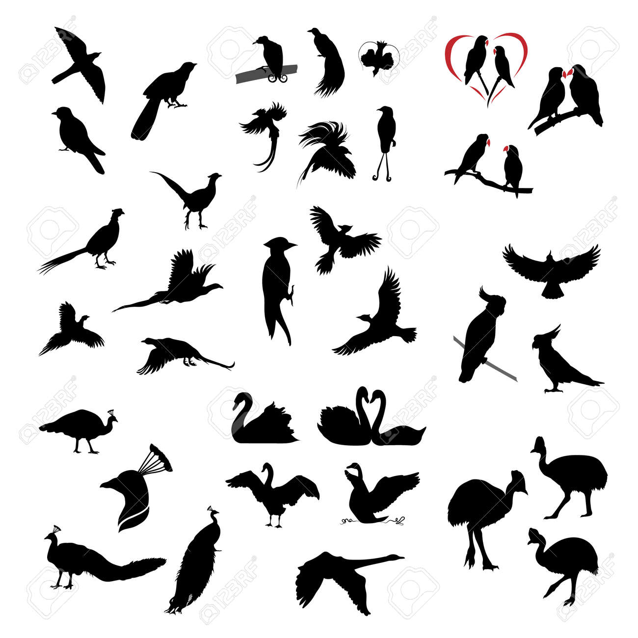 Set of sketches of flying swallows stock vector illustration - The Big Set Of Vector Wild Birds Silhouettes And Icons Illustations Of Flying Birds