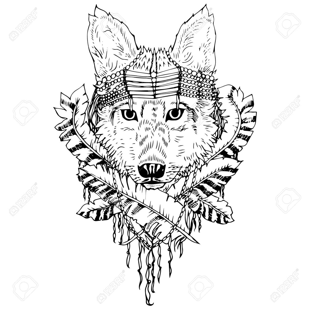 Black And White Wolf Isolated Engraving Sketch Abstract Vector