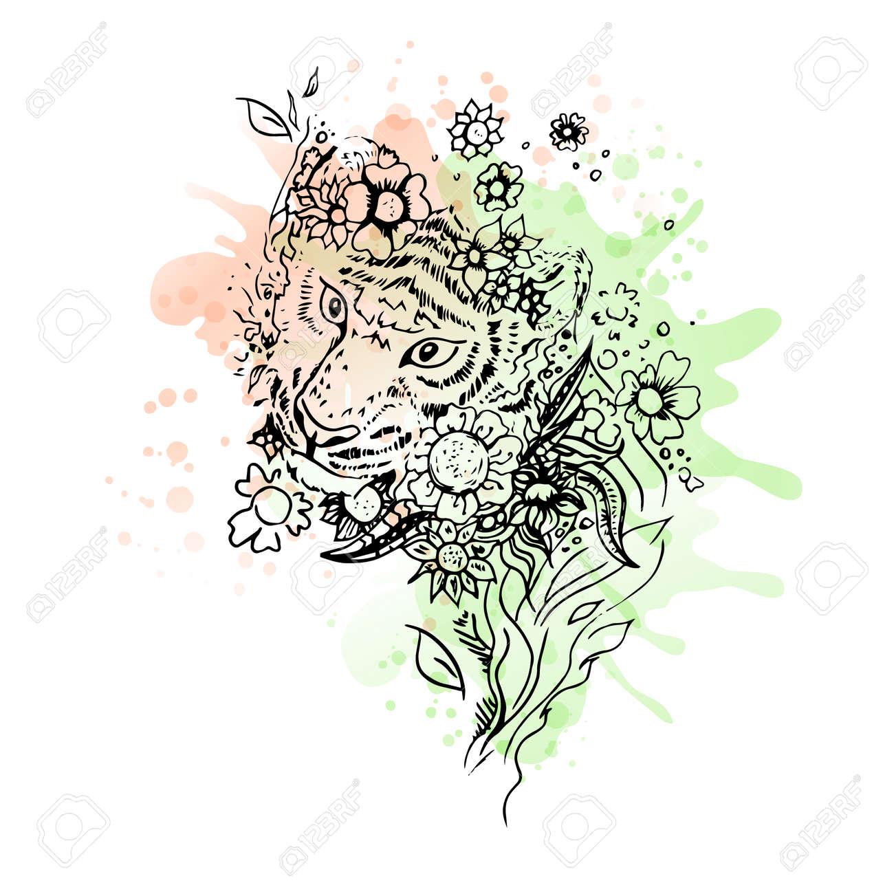 Noir Et Blanc Sauvage Tete De Tigre Animal Art Abstrait Tatouage