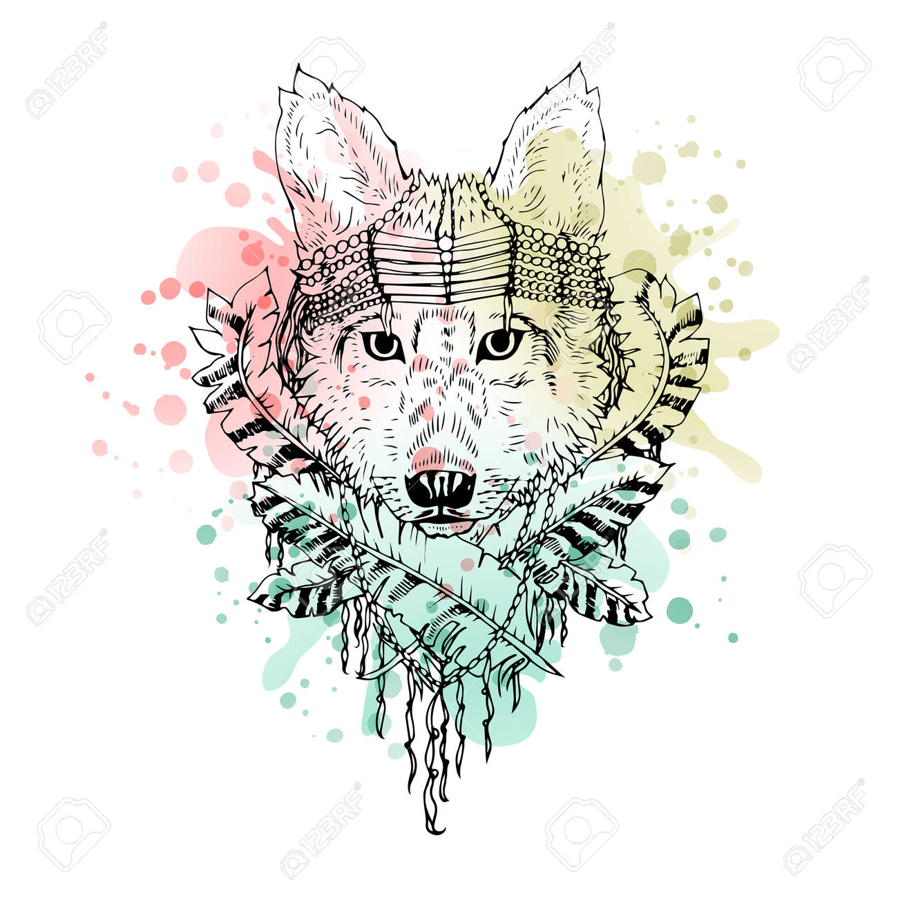Black and white wild animal wolf head abstract art tattoo doodle cketch, boho style. Watercolor splash. Design for shirt, bag, jacket, package, phone case and so on. Vector illustration. - 52248795