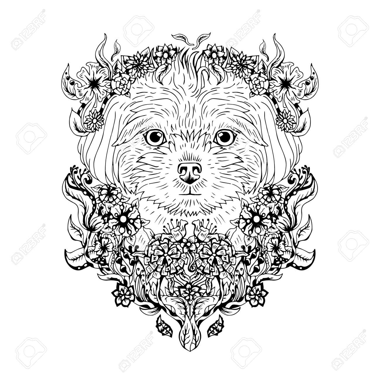 Black And White Animal Dog Head Abstract Art Tattoo Doodle