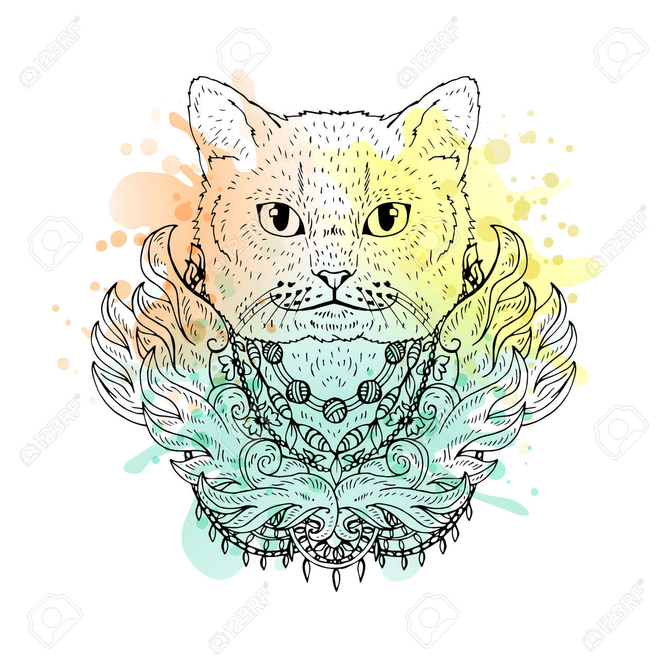 Tete Noire Et Blanc Cat Animal Aquarelle Art Abstrait Tatouage