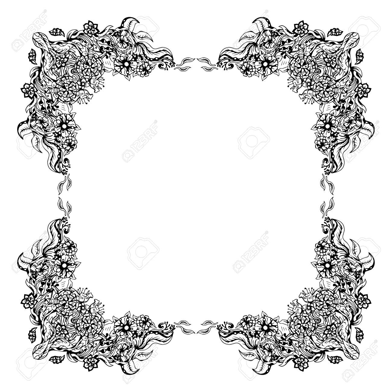 Schwarze Und Weiße Blumen Rahmen Quadratische Form, Abstrakte Kunst ...