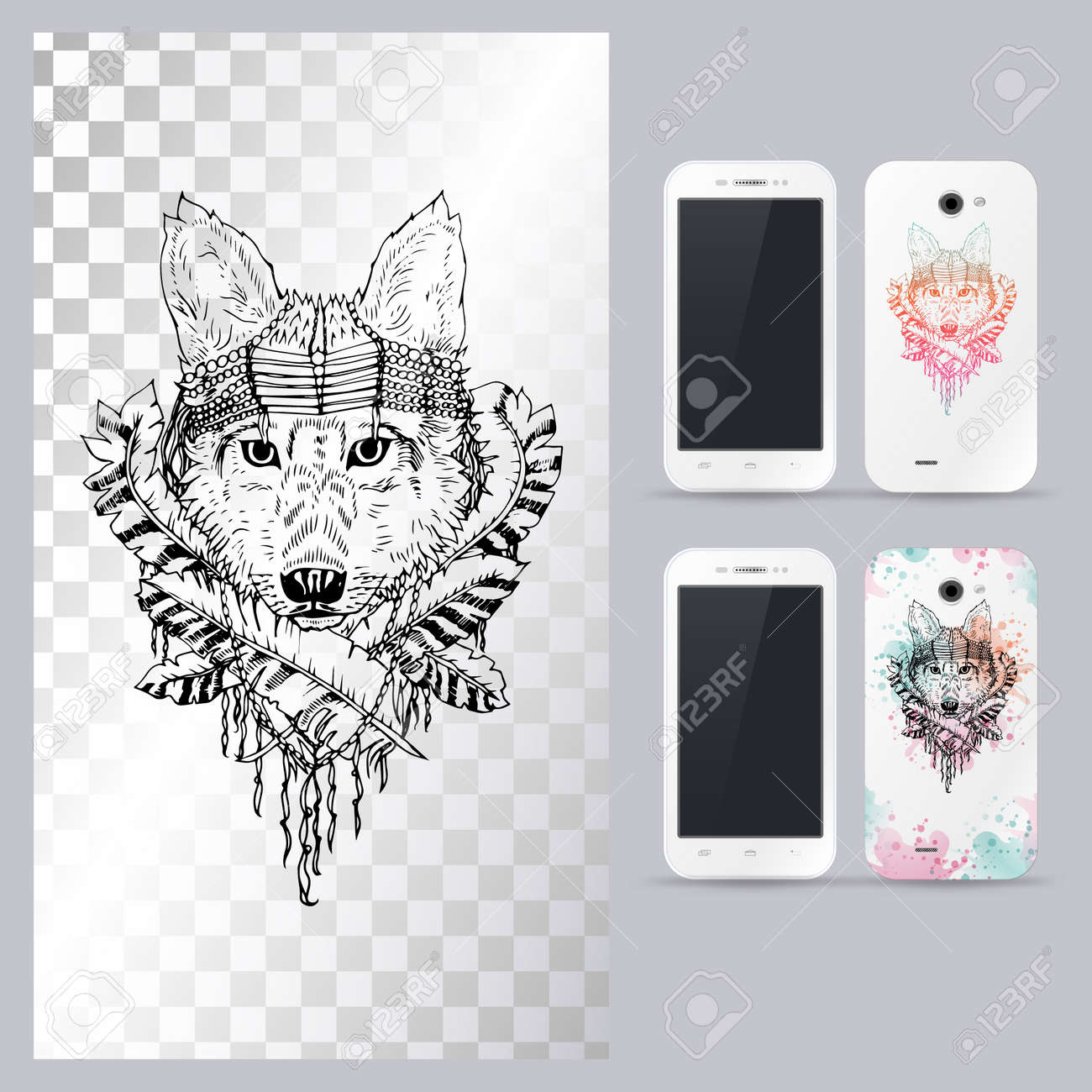 Black And White Animal Dog Head Style Abstract Art Tattoo