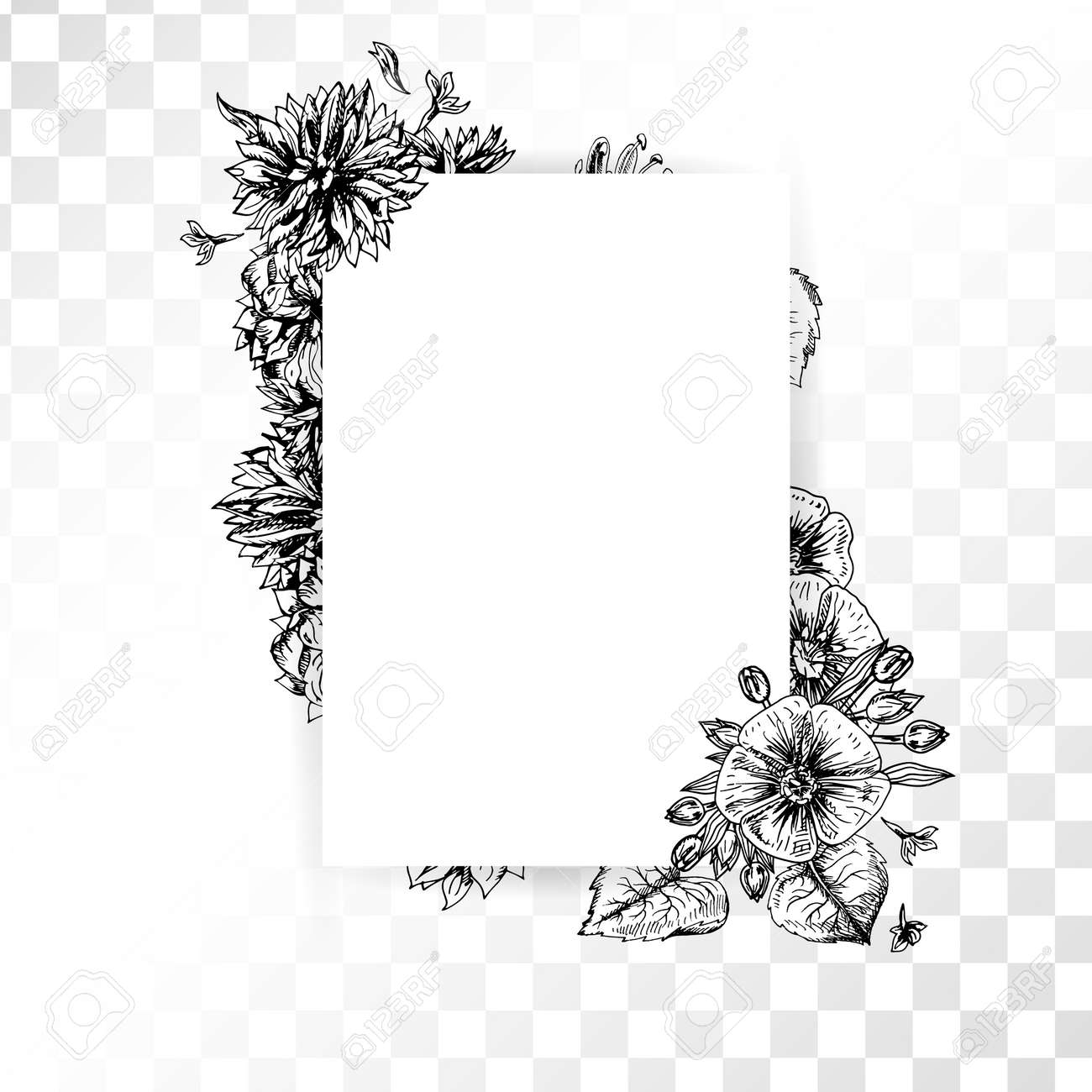 Hand Drawn Flower Frame On Transparent Background Retro Sketches Isolated Wedding Design Doodle