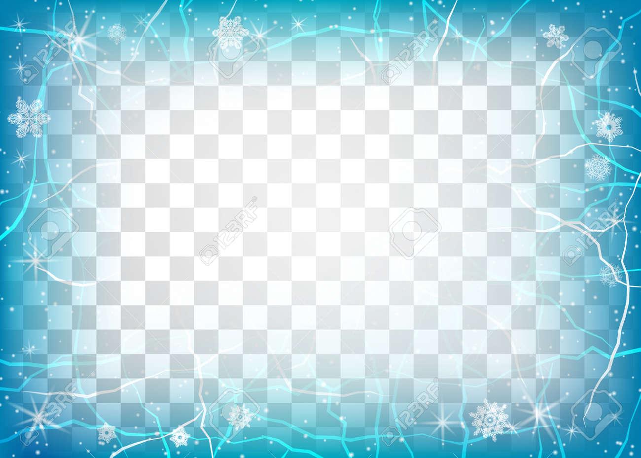 Frame Of Ice On Transparent Background. Winter Frame. Christmas ...