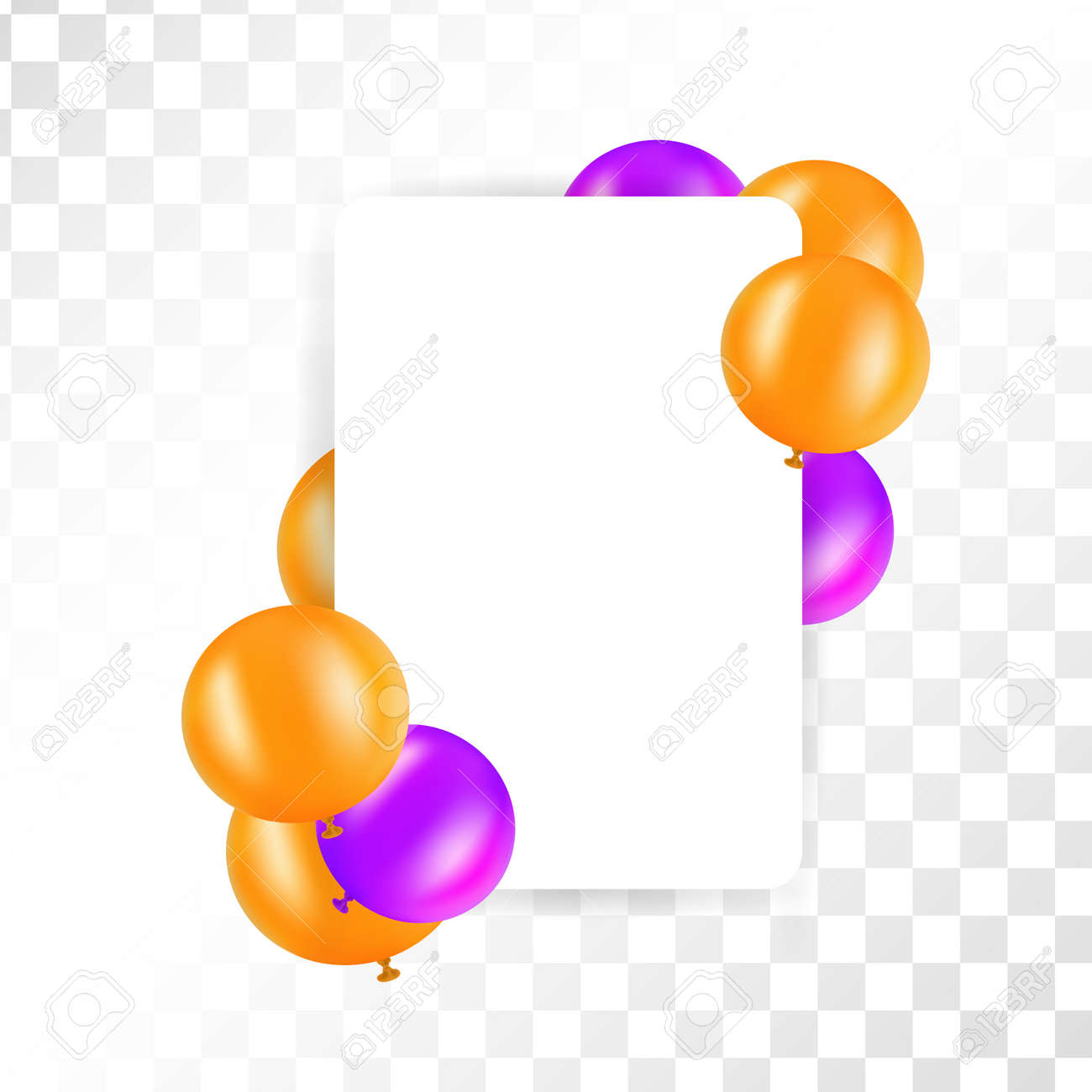 Frame of balloons on transparent background vector design for frame of balloons on transparent background vector design for greeting cards orange and purple kristyandbryce Choice Image