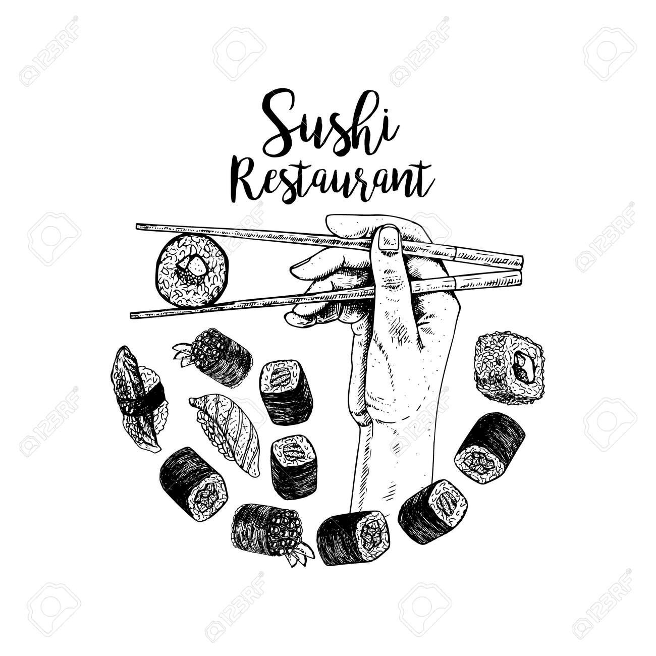 Dessin Imprime A La Main Avec Des Sushis Croquis Vectoriel Clip