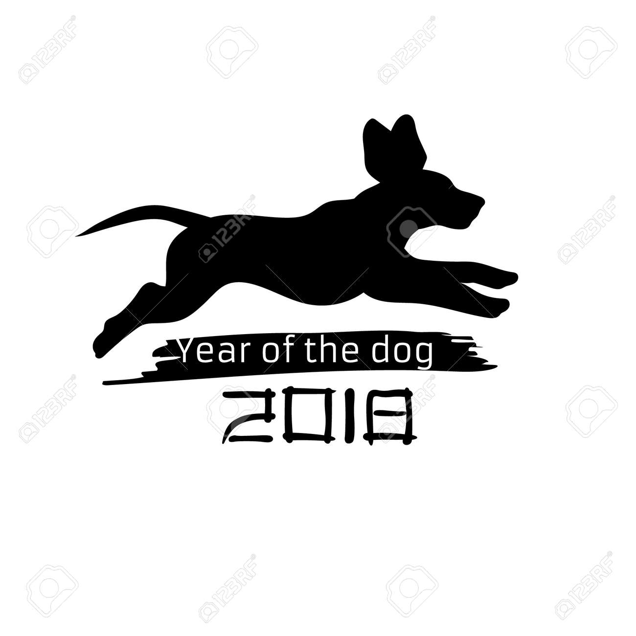 2018 year of the dog silhouette pet new year background hand drawn image