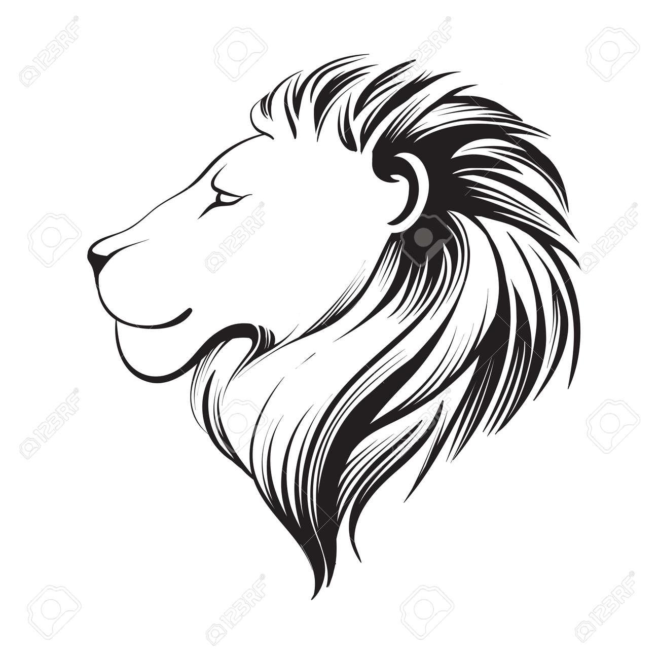 Tête à Lions Isolés Ligne Stylisée Art Linéaire Illustration Vectorielle Logo Le Profil De Lion Visage Stylé Du Lion Isolé Sur Fond Blanc
